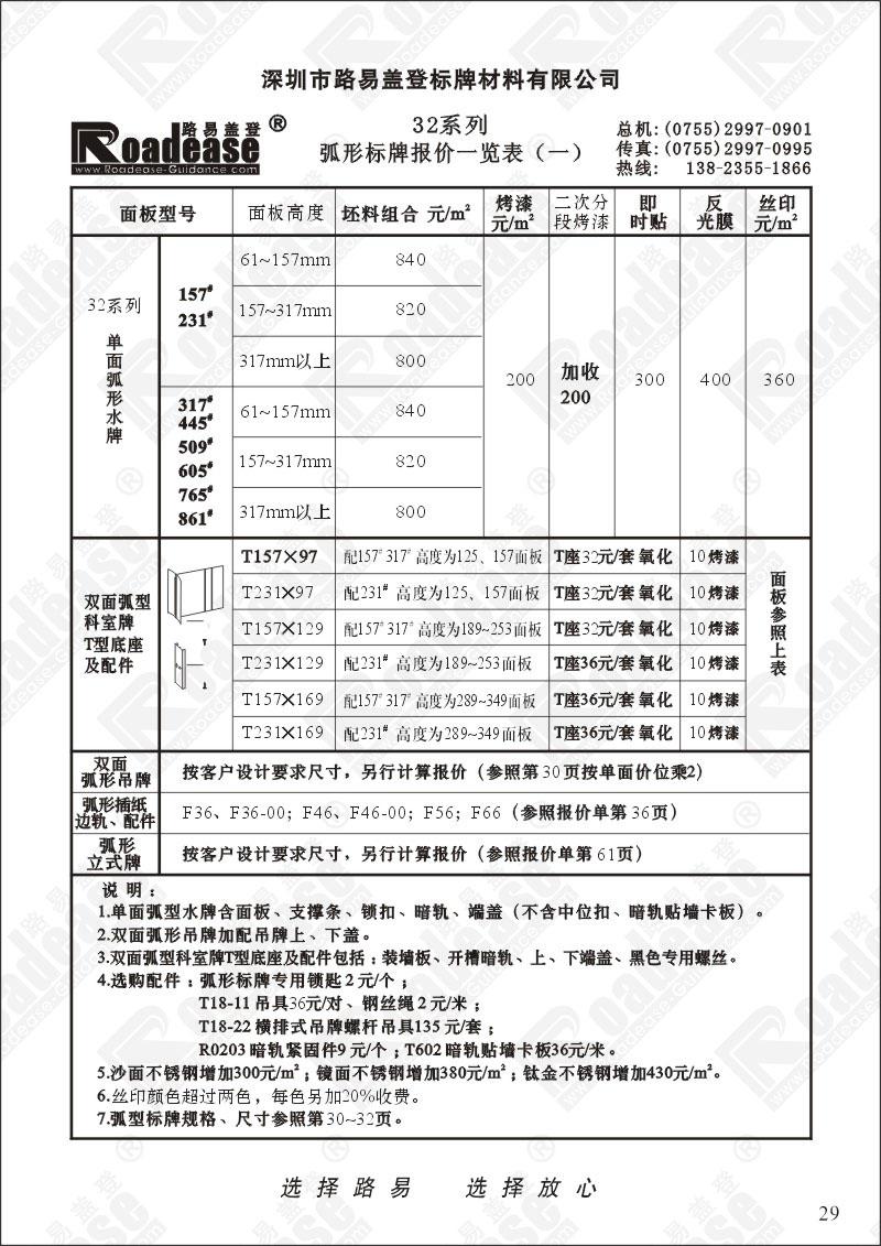 报价表_32系列弧形标牌报价一览表p29